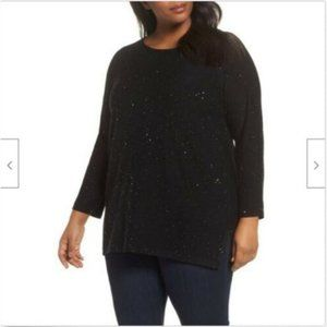 Eileen Fisher Sequin Merino Wool Tunic Sweater 1X